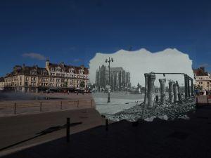 Beauvais 1940 - 2016. Photomontage couleur/noir & blanc avec négatif d'époque et prise de vue récente. Réalisé par Daniel Destailleur.