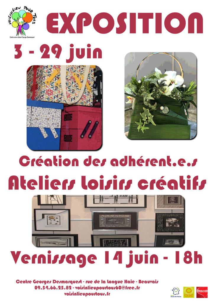 Affiche de l'exposition des adhérentes & adhérents des ateliers de loisirs créatifs de l'association Voisinlieu Pour Tous.