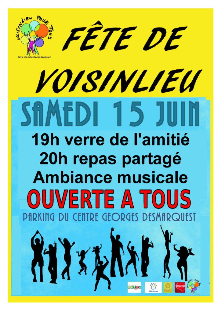 Affiche de la fête de fin de saison de l'association Voisinlieu Pour Tous.